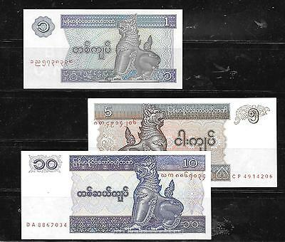 Myanmar 3 Diff Uncirculated Banknote Bill Paper Money Note Lot Set Collection