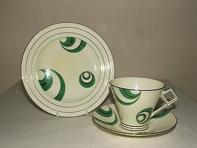 Shelley / Foley Art Deco Green & Black Abstract Tea Trio Truly Stunning