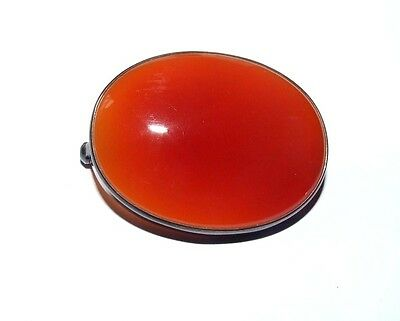 Large Vintage Sterling Silver Red Carnelian Agate Brooch / Pin.