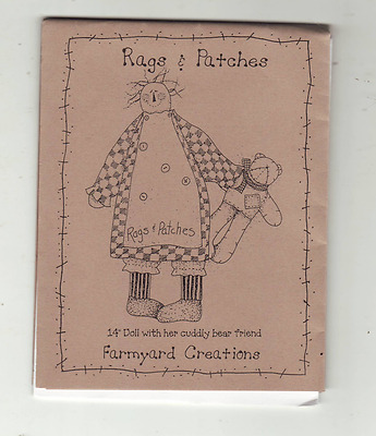 "Rags & Patches 14"" Doll and Cuddly Bear Friend Sewing Pattern Farmyard Creations"