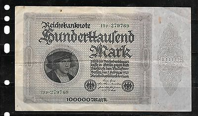 GERMANY #83a 1923 VG CIRCULATED 100000 MARK LARGE OLD BANKNOTE PAPER MONEY NOTE