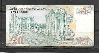 Turley #219 2005 Vg Circ 20 New Lira  Banknote Paper Money Currency Bill Note