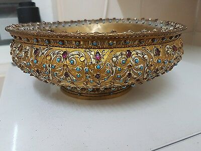 Antique Gilt Russian Cloisonne Fruit Bowl