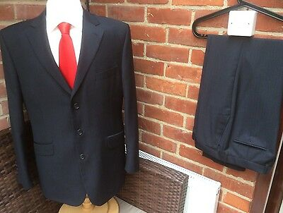 Marks & Spencer Navy Pinstripe Wool Blend Single Breasted Suit - 42R W34 L31