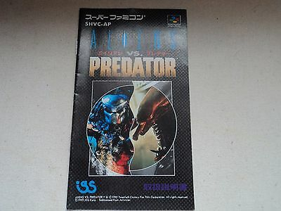 Replacement Manual for Aliens Vs Predator on the Super Famicom - Japan SNES