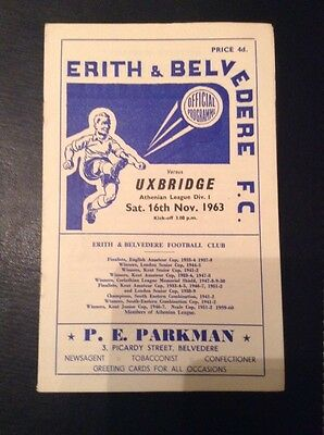 Erith and Belvedere Football Programme - 1963
