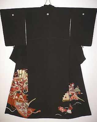 1930s RARE JAPANESE VINTAGE SILK HAND PAINTED TOMESODE KIMONO Music & Treasures