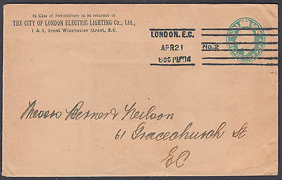 1921 London EC/No.2 M/C, City of London Electric Lighting Co KEVII 1/2d Stat.Env