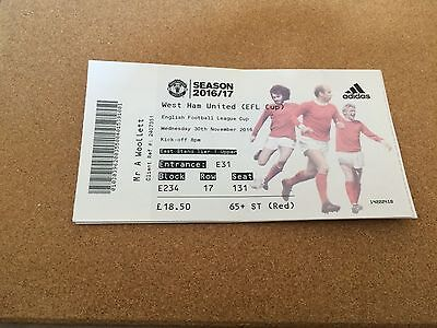 Ticket Manchester United v West Ham United League Cup 30/11/16