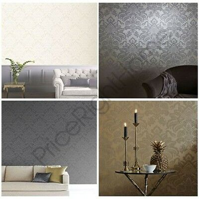 Arthouse Precious Metals Glisten Damask Wallpaper - Gunmetal, Gold, Platinum New