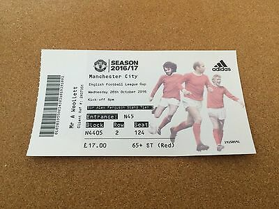 Ticket Manchester United v Manchester City League Cup 26/10/16
