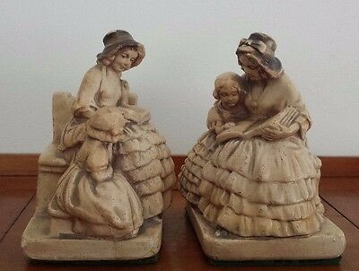 Vintage Crinoline Lady & Child Reading Plaster Bookends
