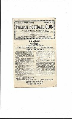 FULHAM v ARSENAL 1945-6 WAR LEAGUE FOOTBALL LEAGUE SOUTH 4 PAGES