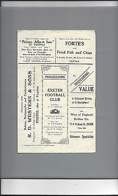 EXETER v LEICESTER 1934-5 FOUR PAGES RUGBY UNION PROGRAMME IN GOOD CONDITION