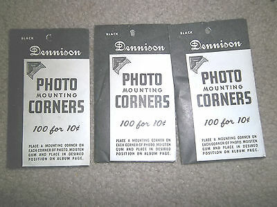 Vintage New 3 Black Dennison Photo Mounting Corners 100/300 Packages Pack Lot