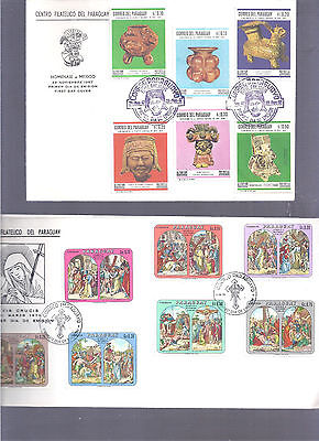 Paraguay 2 Cachet Covers Multi Stamps Art