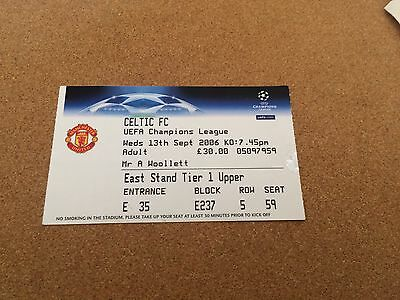 Ticket Manchester United v Celtic Champions League 13/9/06
