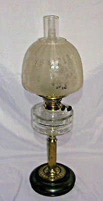 Victorian Oil Lamp with Etched Beehive Shade