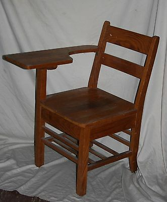 Vintage Sturdy Oak Class Room Arm Desk Chair With Under Seat Book Rack