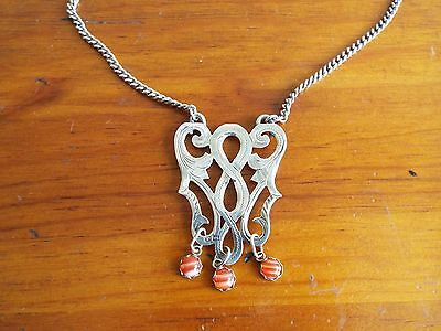 Rare ARTS & CRAFTS Solid silver & agate Celtic pendant necklace Chester 1901