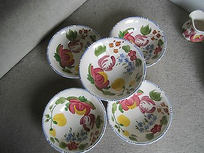 Simpsons Hand Painted Belle Fiore Solian Ware Cereal / Dessert Bowls