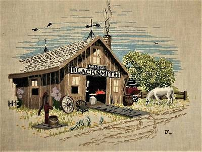 Vtg Country Horse Pastoral Farm Art Floral Finished Completed Crewel Embroidery