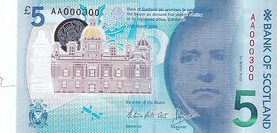 £5 Polymer 2016: AA000300: Bank of Scotland RARE, LOW Serial Number - UNC