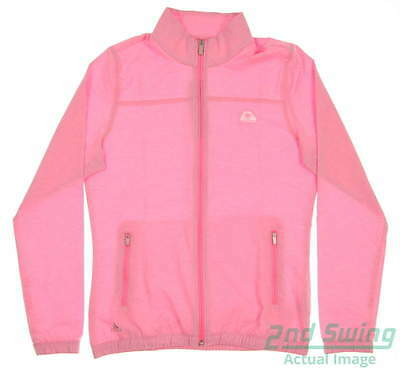 New W/ Logo Womens Adidas Essentials Golf Wind Jacket Small S Pink MSRP $65