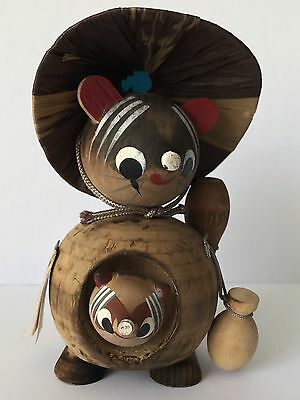 "4"" Japanese Wood Carved Hedgehog & Baby, Signed"