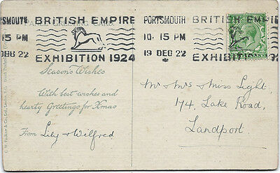 PORTSMOUTH : 1922 BRITISH EMPIRE EXHIBITION 1924 continuous slogan cancel on PPC