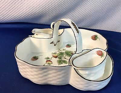 Coalport Strawberry Butterfly Basket Creamer Sugar Bowl