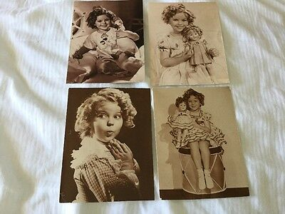 4 x Shirley Temple with toys actress printed postcards from the USA B/W