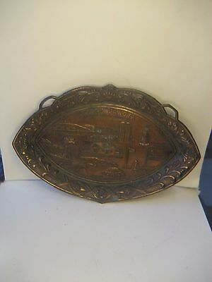1950's-60's COPPER TONE METAL TRAY/SOUVENIR OF NORTH DAKOTA ROUGH RIDER COUNTRY