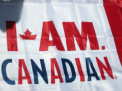 I AM CANADIAN Flag Banner & FREE FLAG PIN 29 x 59 Molson Beer 150 Canada 2017