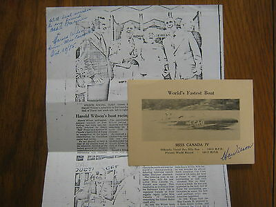 HAROLD (H.A.) WILSON  Miss Canada IV   Signed  4 X 6  Photo/Card &  Signed paper