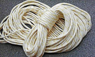 10mm Braid on Braid Polyester Rope White with yellow fleck 50mtr