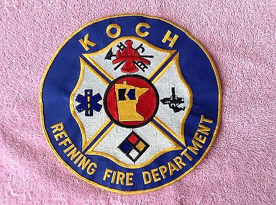 "Vintage Koch Bothers MN Refining Fire Dept Firefighter Patch 7.5"" Very Rare"