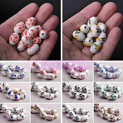 Wholesale 5/15pcs 15X10mm Ceramic & Porcelain Big Hole Loose Spacer Beads Lot