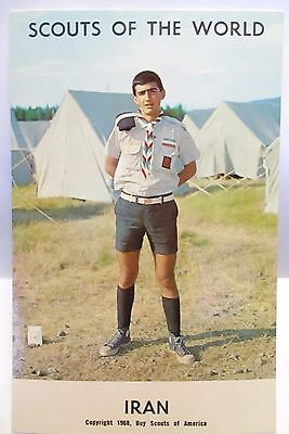 """1968  Boy Scouts Of America Postcard """" Scouts Of The World - Iran  """" Unused"""