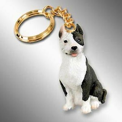 PIT BULL Terrier Brindle Dog Tiny One Resin Keychain Key Chain Ring