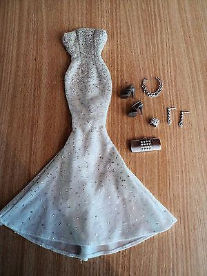 Barbie Designer White & Silver Evening Gown with Silver Accessories and Sandals
