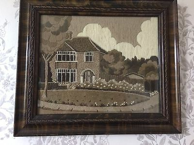 Vintage Embroidery Picture Framed
