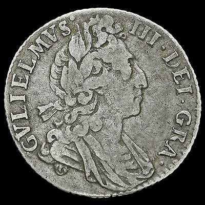 1697 William III Early Milled Silver Sixpence, Third Bust