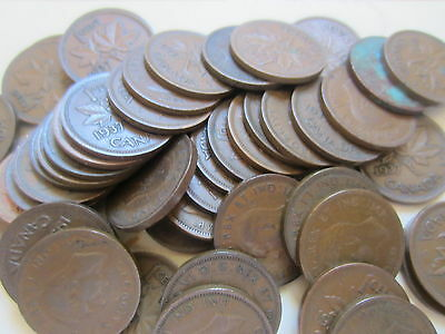Roll of 1937 Canada Small Cents (50 Coins RJ=4).