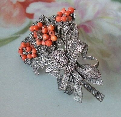 Antique Dress Fur Clip Marked China Angel Skin Coral Beads Silver Gilt Filigree