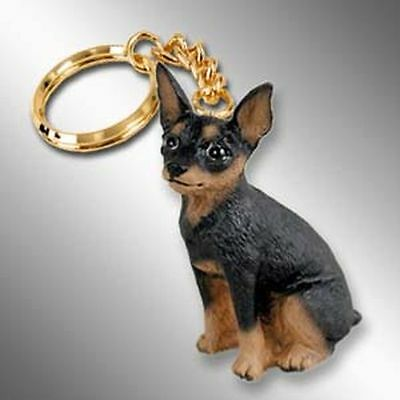 Miniature Pinscher Black Tan Min Pin Dog Tiny One Resin Keychain Key Chain Ring