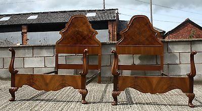 Magnificent pair of Vintage walnut Queen Anne standard single beds 1930s