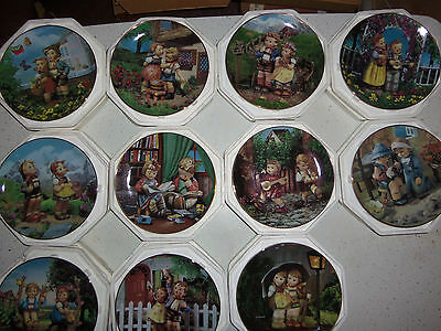 """Set Of 12 Hummel """"Little Companion"""" Plates, With Collectible Certificates"""