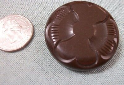 Vintage Bakelite Button  Large Carved  Thick Brown Button