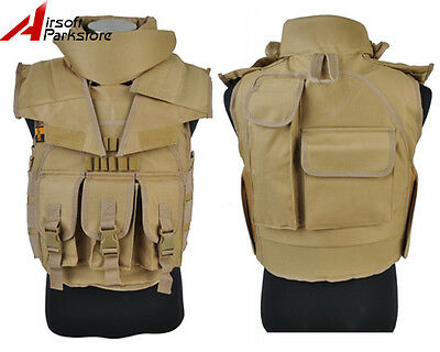 Tactical Military SDU Airsoft Paintball Wargame Plate Carrier Combat Vest Tan